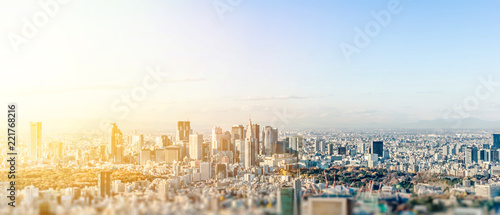 Cadres-photo bureau Tokyo Business and culture concept - panoramic modern city skyline bird eye aerial view under dramatic blue sky in Tokyo, Japan. miniature lens tilt shift blur effect