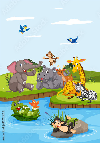 Foto op Canvas Op straat Wild animals next to river