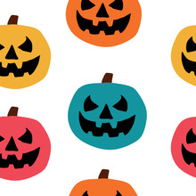 Cute But Spooky Halloween Seamless Pattern With Colorful Pumpkin For Children Style Vector Illustration.