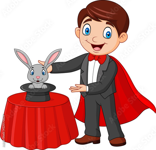 Photo Magician performing his trick rabbit appearing from a magic top hat
