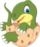 Fototapeta Dinusie - Cartoon baby dinosaur hatching