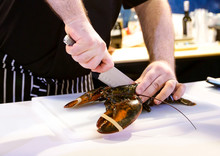 Cooking Lobster, Chef Cutting ...
