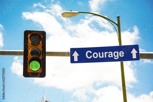 Fotografie, Obraz  Schild 291 - Courage