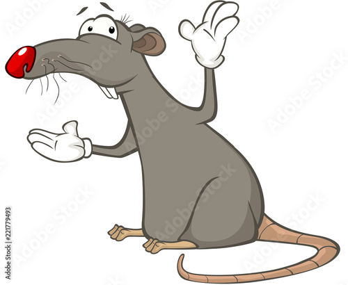 Poster Babykamer Illustration of a Cute Rat. Cartoon Character