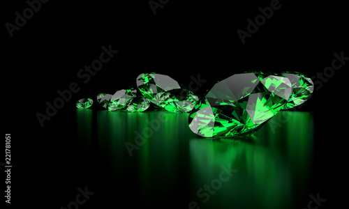 Fototapeta Green Diamond Group In Dark Background 3d illustration