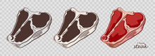 T-bone Steak. Piece Of Meat Isolated On The Pseudo Transparent Background. Cut Of Beef. Set Of Outline, Black And White, Colored Images. Vector Illustration. Icon, Emblem, Logo Element.