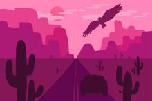 Desert Landscape With Eagle, C...