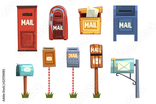 Mail boxes set, vintage postbox cartoon vector Illustrations Wallpaper Mural