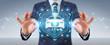 Businessman using modern smart car interface 3D rendering