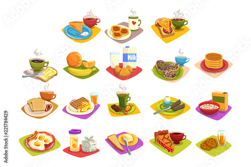 Leinwand Poster Classic breakfast ideas set