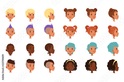 Set Of Vector Boys Head Faces With Different Hairstyles Punk Mohawk Dreadlocks Classical And Trendy Hipster Haircut Front And Side View Buy This Stock Vector And Explore Similar Vectors At Adobe