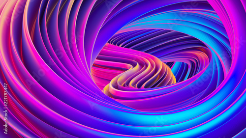Fluid design twisted shapes holographic 3D abstract background iridescent wallpa Canvas Print