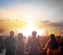 Worship Concept:Silhouette People Looking For The Cross On  Sunrise Background