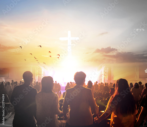 Worship concept:Silhouette people looking for the cross on  sunrise background Canvas Print