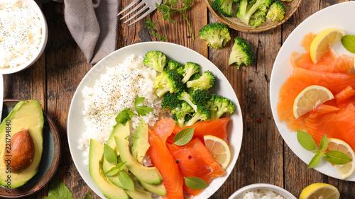 rice, avocado, broccoli and salmon