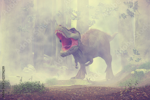 Fototapeta t rex, tyrannosaurus rex dinosaur walking through a misty forest (3d rendering)