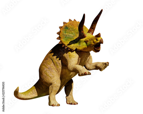 Fotografía Triceratops horridus dinosaur in action (3d rendering isolated on white backgrou