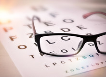 Glasses Of Sight On Alphabet Letter Elevated View