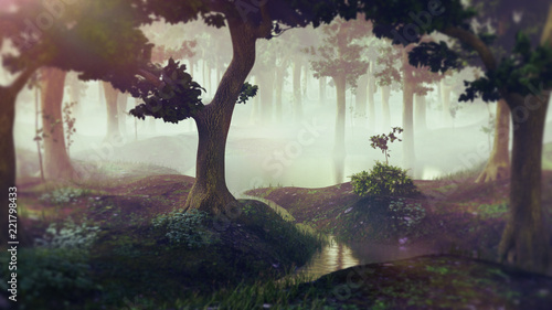 Poster Cappuccino foggy fantasy forest with ponds, landscape