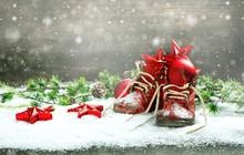 Christmas Decoration Red Balls Stars Bokeh Snowflakes