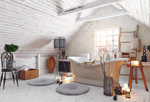 Attic Bathroom Interior.