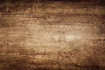 Fototapeta Dark Brown Wood Texture with Scratches as Background