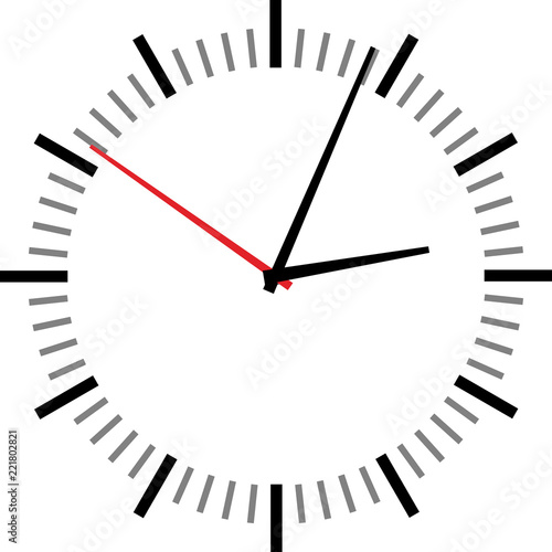 Cuadros en Lienzo Vector illustration of clock face on white background.