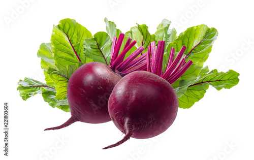 Fototapeta Beet roots and leaves isolated on white background