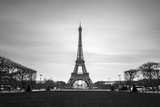 Fototapeta Fototapety z wieżą Eiffla - Beautiful tranquil long exposure view of the Eiffel tower in Paris, France, in black and white