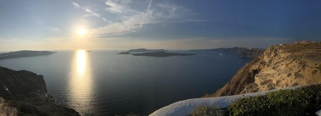 Fototapeta Views of Santorini caldera from atop the island near Megalochori