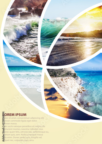 Travel collage with images of the sea vacation. Can be used for cover design, brochures, flyers. With space for text