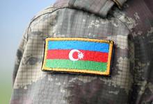 Azerbaijan Patch Flag On Military Uniform. Azerbaijan Army. Azerbaijani Troops