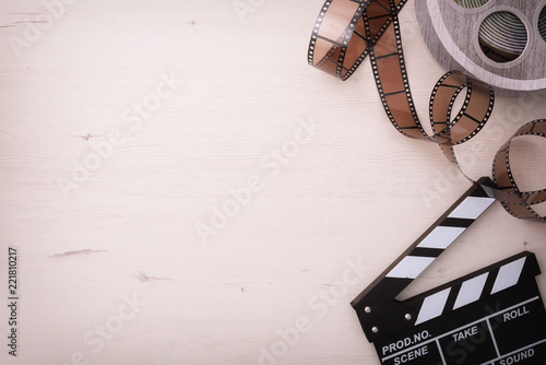 Background of watching movies objects on the left with reel
