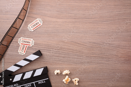 Cinema concept cinema elements on wooden table