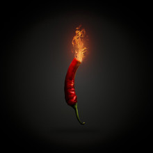 Red Hot Chili Pepper With Fire...