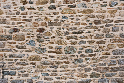 Multi-colored stone wall texture with mortar Wallpaper Mural