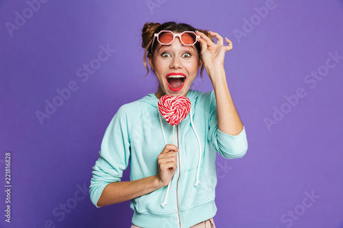 Fotografie, Obraz  Portrait of an excited young girl with bright makeup
