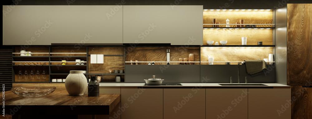 Fototapeta Moderne Küche nachts mit LED Licht