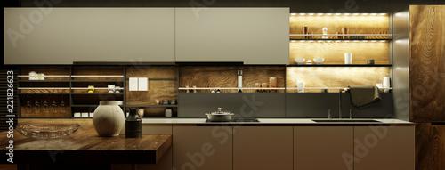 Valokuva  Moderne Küche nachts mit LED Licht
