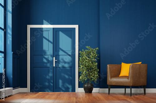 Foto  Korridor Flur mit Flügeltür und Sessel vor Wand