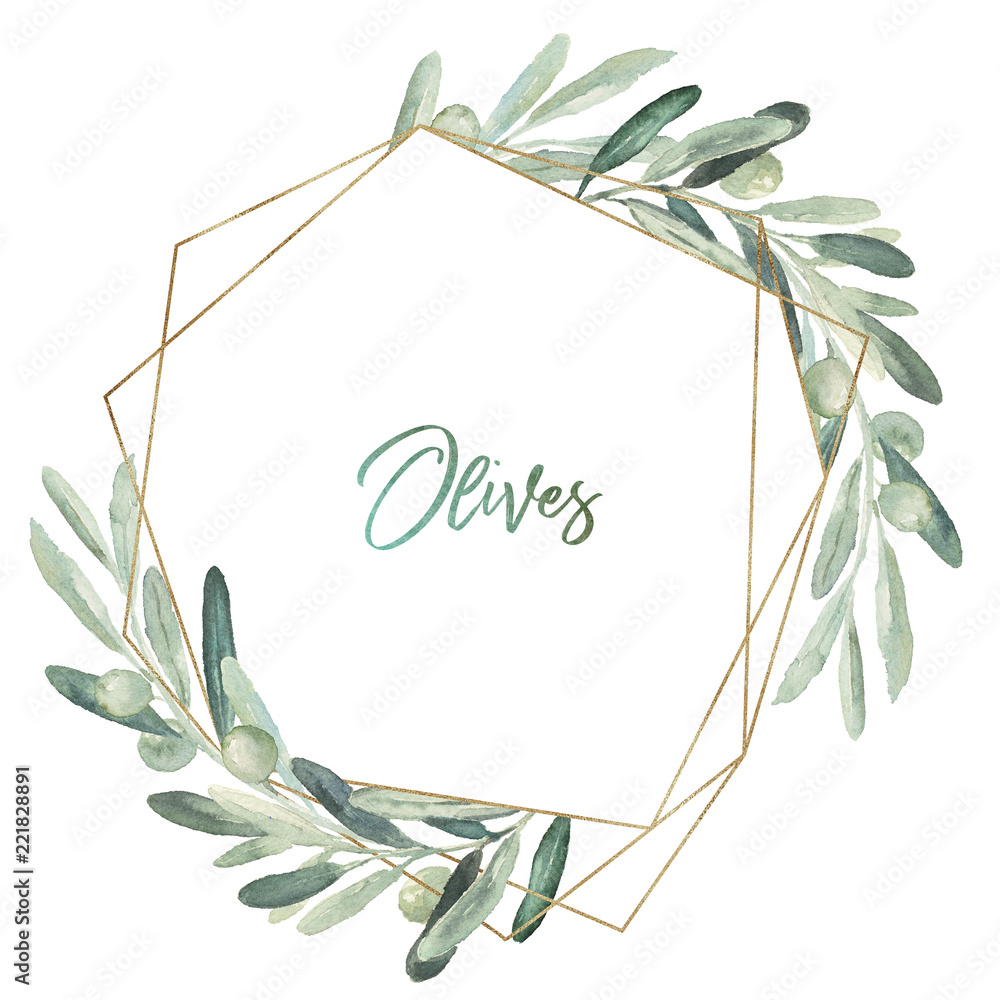 Fototapety, obrazy: Watercolor olea floral illustration - olive leaf wreath / frame with gold geometric shape, for wedding stationary, greetings, wallpapers, fashion, background.