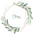 canvas print picture - Watercolor olea floral illustration - olive leaf wreath / frame with gold geometric shape, for wedding stationary, greetings, wallpapers, fashion, background.