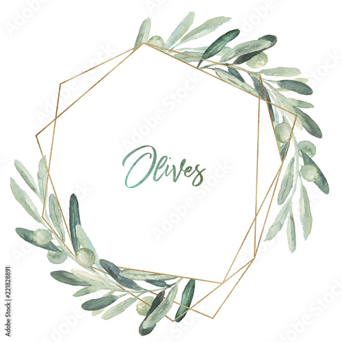 Photo  Watercolor olea floral illustration - olive leaf wreath / frame with gold geometric shape, for wedding stationary, greetings, wallpapers, fashion, background