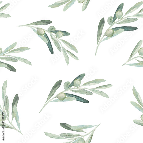 Fotografija Seamless watercolor olea floral pattern with olive branches and leaves on white