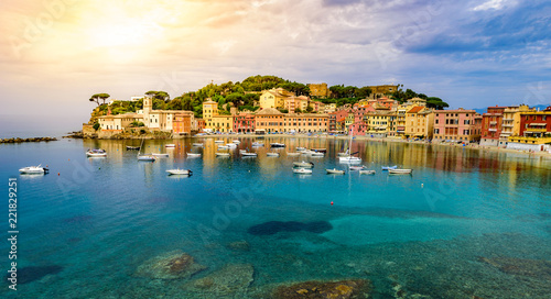 In de dag Liguria Sestri Levante - Paradise Bay of Silence with its boats and its lovely beach. Beautiful coast at Province of Genoa in Liguria, Italy, Europe.
