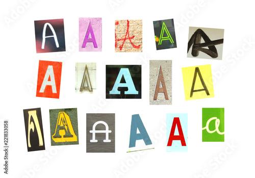 Fotografía  Colorfur newspaper letter E on white