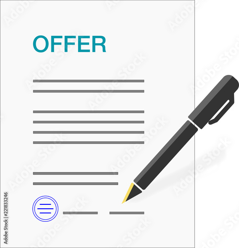 Form Template For An Business Offer Including Signature Stamp And Pen