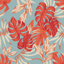 Tropical Autumn Leaves Blue Background