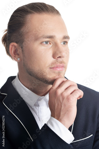 Fototapety, obrazy: Portrait of handsome young man on white background