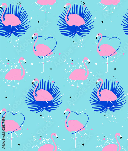 Seamless pattern with cute flamingos. Exotic pink flamingos with palm leaves on mint background with dots and hearts. Summer pattern with tropical birds. Simple repeated flamingos perfect for fabric